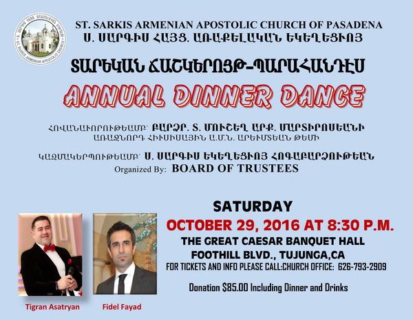 <!--:--><!--:en-->St. Sarkis Church Annual Dinner-Dance<!--:--><!--:hy-->Ս. Սարգիս Եկեղեցւոյ Տարեկան Ճաշկերոյթ<!--:--> @ Great Caesar Banquet Hall | Los Angeles | California | United States