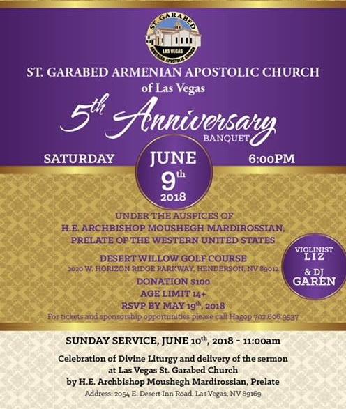[:en]St. Garabed Church of Las Vegas 5th Anniversary Celebration[:hy]Լաս Վեկասի Ս. Կարապետ Եկեղեցւոյ 5-րդ Ամեակի Տօնախմբութիւն[:]