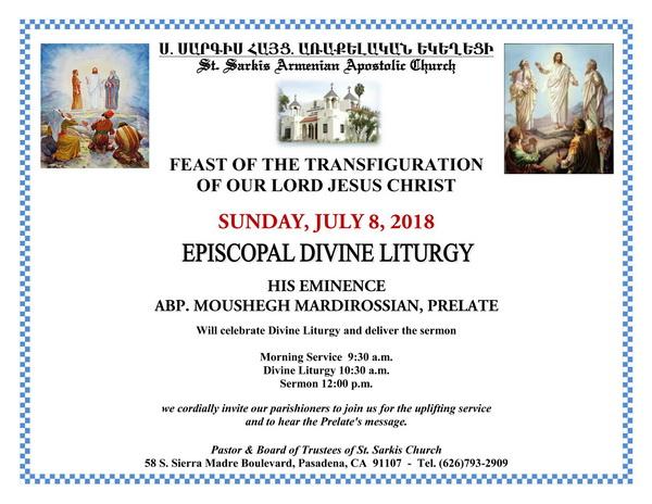 [:en]Episcopal Divine Liturgy on the Feast of the Transfiguration[:hy]Եպիսկոպոսական Ս. Պատարագ Այլակերպութեան Տօնին Առիթով[:] @ St. Sarkis Church | Pasadena | California | United States