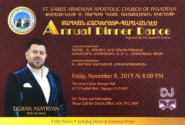 [:en]St. Sarkis Church of Pasadena Annual Dinner Dance[:hy]Փասատինայի Ս. Սարգիս Եկեղեցւոյ Տարեկան Ճաշկերոյթ[:] @ The Great Caesar Banquet Hall   Los Angeles   California   United States