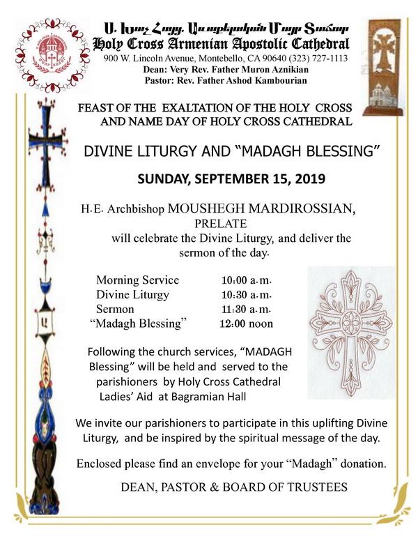 [:en]Feast of the Exaltation of the Holy Cross & Holy Cross Cathedral Name Day Celebration[:hy]Եպիսկոպոսական Ս. Պատարագ եւ Մատաղօրհնէք Խաչվերացի Տօնին եւ Ս. Խաչ Մայր Տաճարի Անուանակոչութեան Առթիւ[:] @ Holy Cross Cathedral | Montebello | California | United States