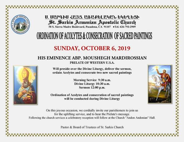[:en]Ordination of Acolytes & Consecration of Sacred Paintings[:hy]Դպրաց Ձեռնադրութիւն եւ Սրբապատկերներու Օծում [:] @ St. Sarkis Church