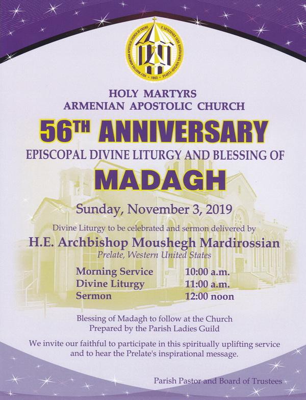 [:en]Episcopal Divine Liturgy & Blessing of Madagh on the 56th Anniversary of Holy Martyrs Church[:hy]Եպիսկոպոսական Ս. Պատարագ եւ Մատաղօրհնէք Ս. Նահատակաց Եկեղեցւոյ Օծման 56-րդ Տարեդարձին Աոթիւ[:] @ Holy Martyrs Church
