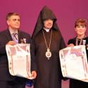 "Prelate Presents Pontifical ""St. Mesrob Mashdots"" Medals to Hamazkayin Ani Dance Company Directors"