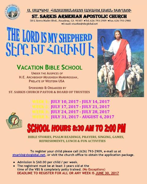 <!--:--><!--:en-->Vacation Bible School – Pasadena<!--:--><!--:hy-->Ամառնային Ս. Գրային Դպրոց - Փասատինա<!--:--> @ St. Sarkis Church | Pasadena | California | United States