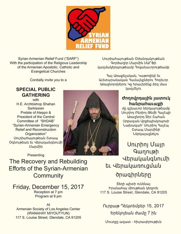 [:en]SARF's Public Gathering with the Prelate of Aleppo[:hy]Ժողովրդային Հանրահաւաք՝ Բերիոյ Թեմի Առաջնորդ Շահան Արք. Սարգիսեանին Հետ[:] @ Armenian Society of Los Angeles | Glendale | California | United States