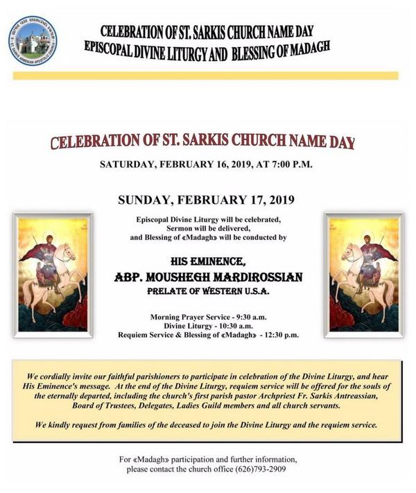[:en]St. Sarkis Church of Pasadena Name Day Celebration[:hy]Փասատինայի Ս. Սարգիս Եկեղեցւոյ Անուանակոչութեան Տօնակատարութիւն[:] @ St. Sarkis Church | Pasadena | California | United States